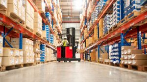 pic of fork lift in warehouse